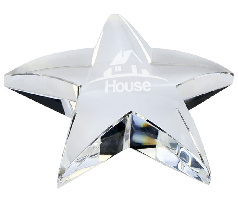"""Optical Crystal Star Paperweight 10cm (4"""")"""