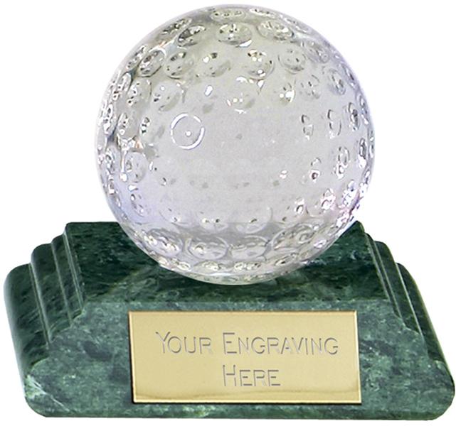 "Optical Crystal Golf Ball Award on Green Marble Base 5.5cm (2.25"")"