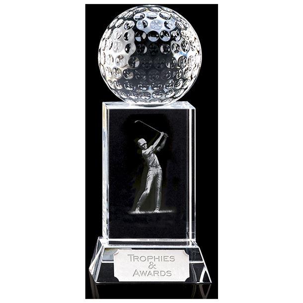 """Mercury Golfer Optical Crystal Golf Award 15cm (6"""")"""
