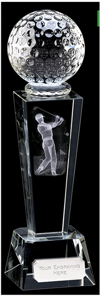"Optical Crystal Unite Male Golfer Glass Award 21.5cm (8.5"")"