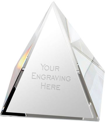 "Crystal Pyramid Glass Paperweight Award 5cm (2"")"