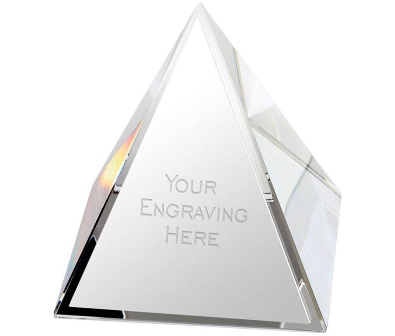 "Crystal Pyramid Glass Paperweight Award 5cm (2"")"