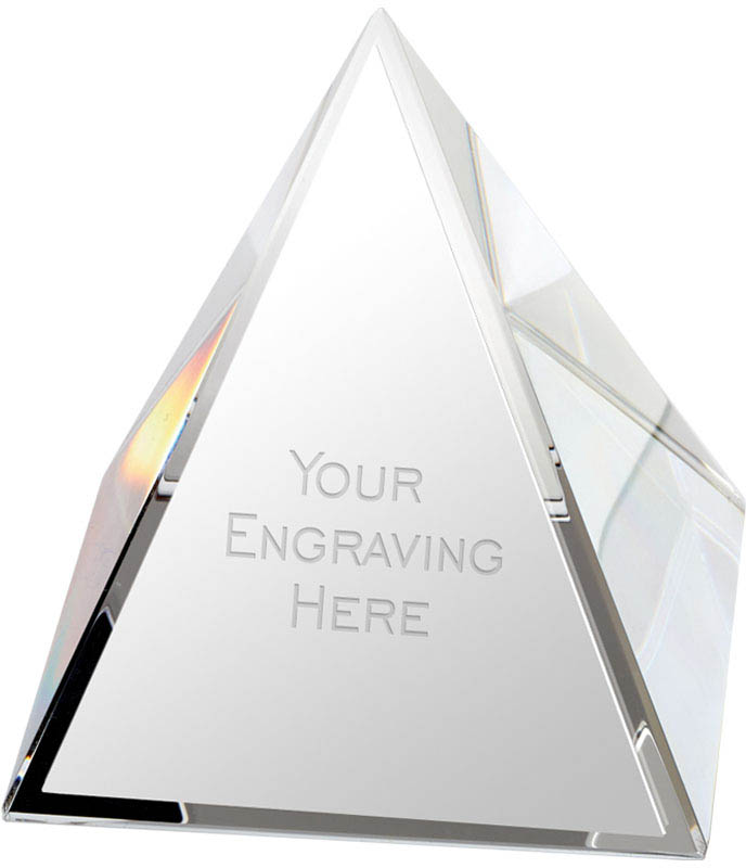 "Crystal Pyramid Glass Paperweight Award 7cm (2.75"")"