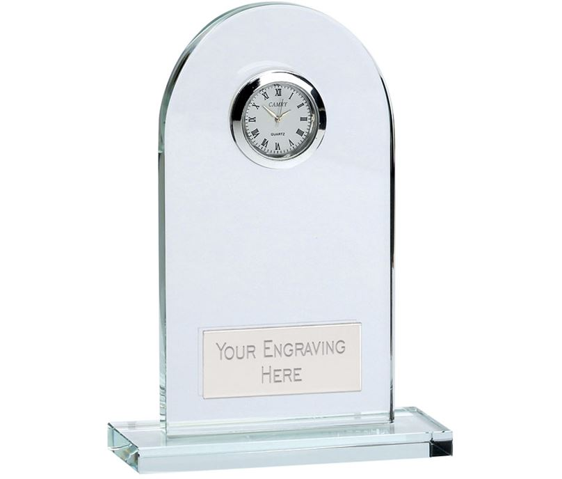 "Arch Crystal Glass Clock 14cm (5.5"")"