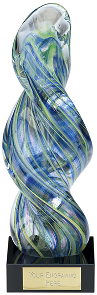 "Clear & Blue Thick Spiral Art Glass Award on Marble Base 25cm (9.75"")"
