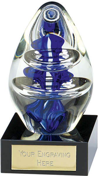 "Clear & Blue Thick Art Glass Award 12.5cm (5"")"