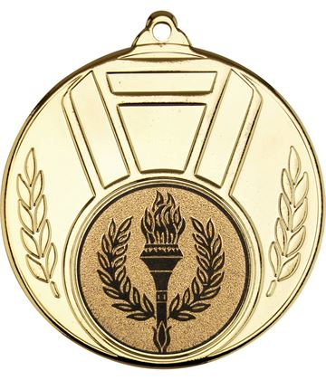 "Gold Ribbon And Leaf Medal 50mm (2"")"