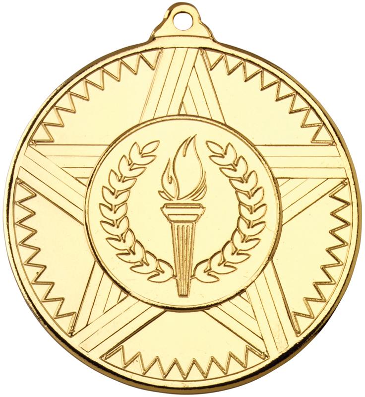 "Gold Striped Star Medal 50mm (2"")"