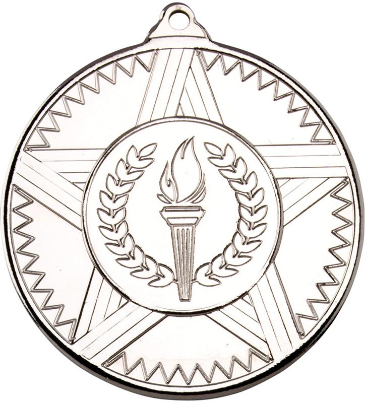 "Silver Striped Star Medal 50mm (2"")"