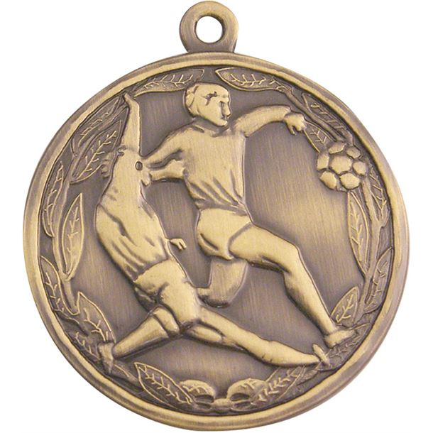 """Antique Gold Football Tackle Medal 50mm (2"""")"""