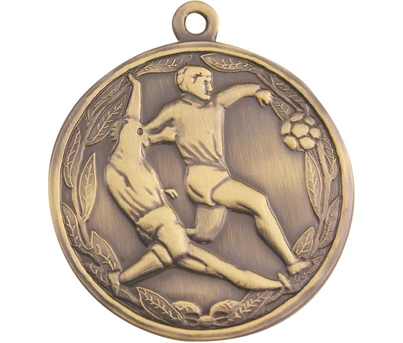 "Antique Gold Football Tackle Medal 50mm (2"")"