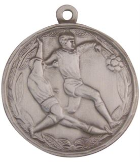 """Antique Silver Football Tackle Medal 50mm (2"""")"""