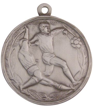 "Antique Silver Football Tackle Medal 50mm (2"")"