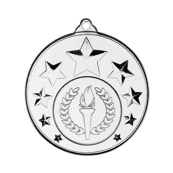 """Multi Star Medal With Centre Silver 50mm (2"""")"""