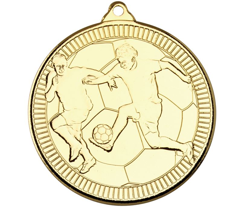 "Gold Multi Line Football Medal 50mm (2"")"