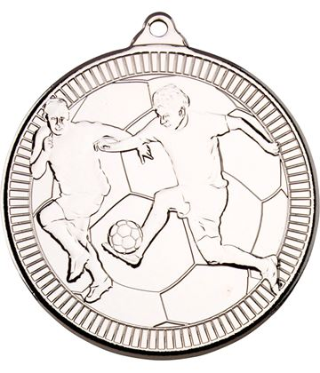 "Silver Multi Line Football Medal 50mm (2"")"