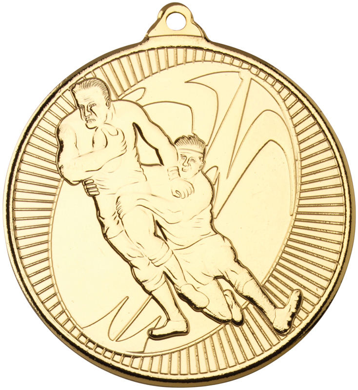"Gold Rugby Multi Line Medal 50mm (2"")"