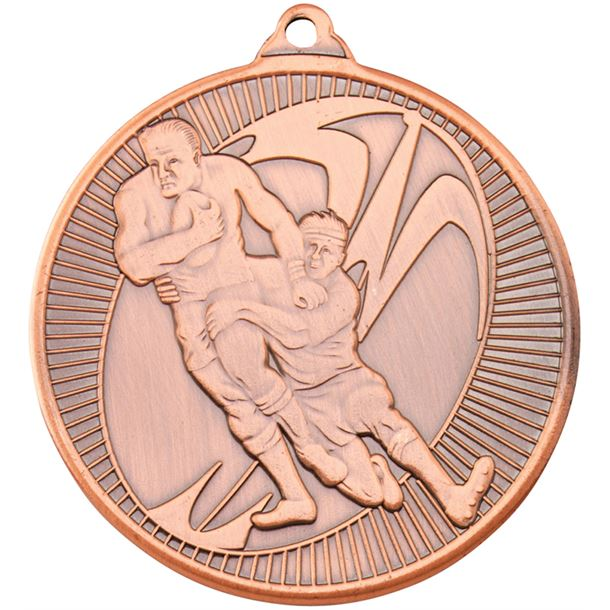 "Bronze Rugby Multi Line Medal 50mm (2"")"