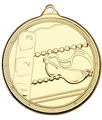 "Gold Multi Line Swimming Medal 50mm (2"")"