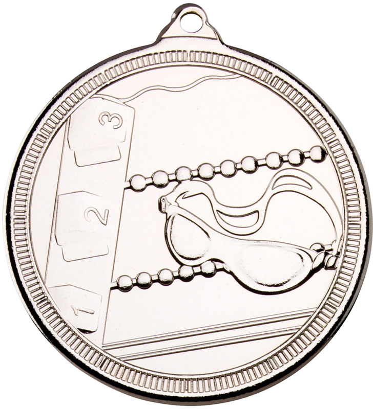 "Silver Multi Line Swimming Medal 50mm (2"")"