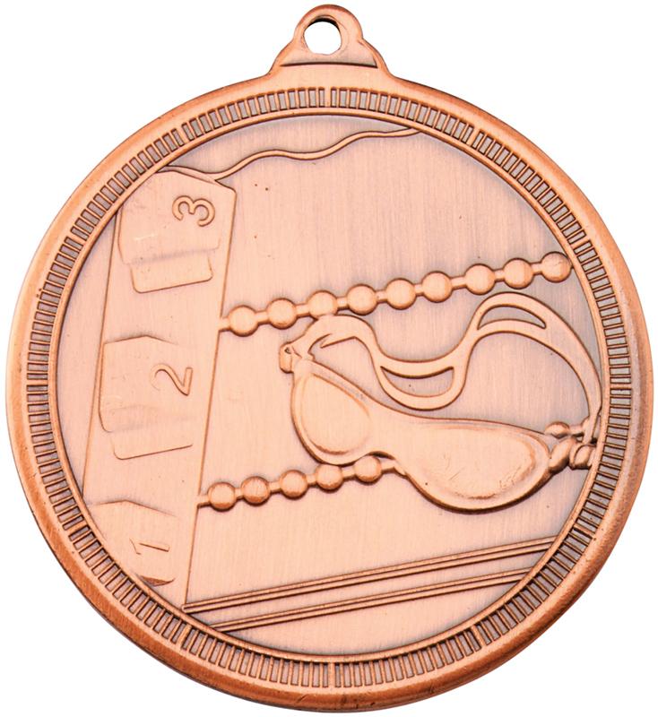 """Bronze Multi Line Swimming Medal 50mm (2"""")"""