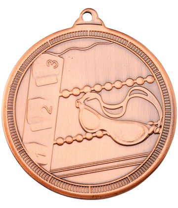 "Bronze Multi Line Swimming Medal 50mm (2"")"