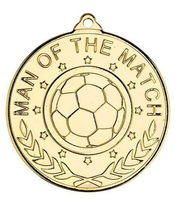 "Man Of The Match Laurel Wreath Football Medal Gold 50mm (2"")"