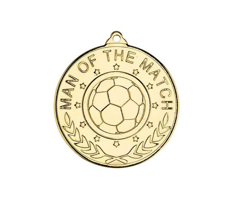"Man Of The Match Laurel Wreath Football Medal Gold 50mm (2"")"