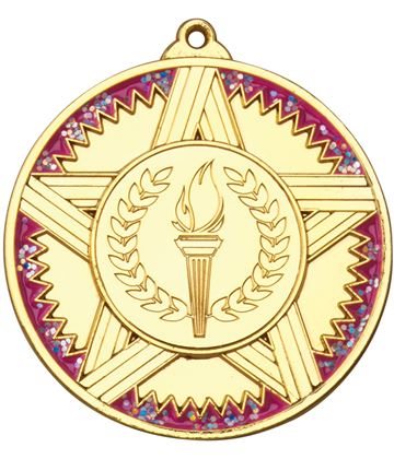 "Gold Striped Star Medal With Pink Glitter 50mm (2"")"