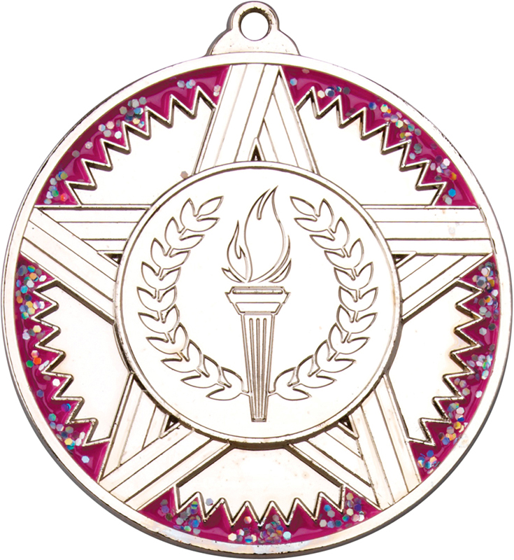 """Silver Striped Star Medal With Pink Glitter 50mm (2"""")"""
