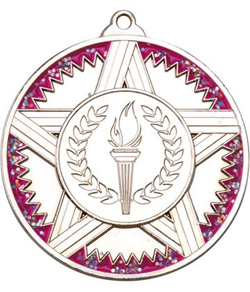 "Silver Striped Star Medal With Pink Glitter 50mm (2"")"
