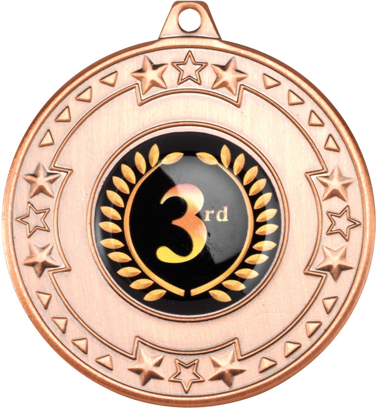 """Bronze Star & Pattern Medal with 1"""" Centre Disc 50mm (2"""")"""