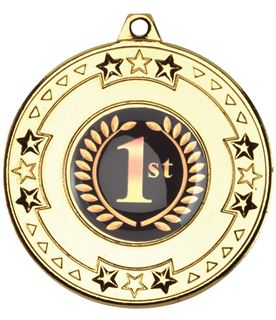 "Gold Star & Pattern Medal with 1"" Centre Disc 50mm (2"")"