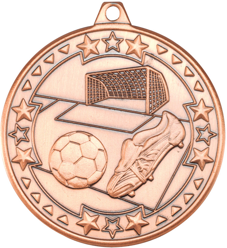 "Bronze Tri Star Football Medal 50mm (2"")"
