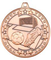 "Bronze Tri Star Football Medal 50mm (2"")"