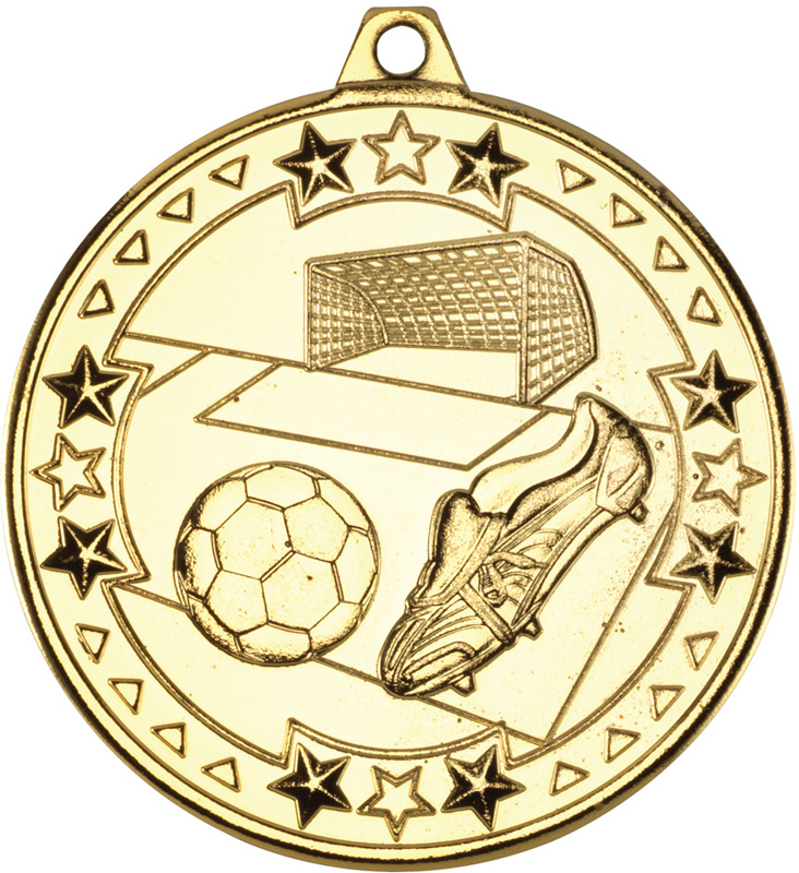 "Gold Tri Star Football Medal 50mm (2"")"