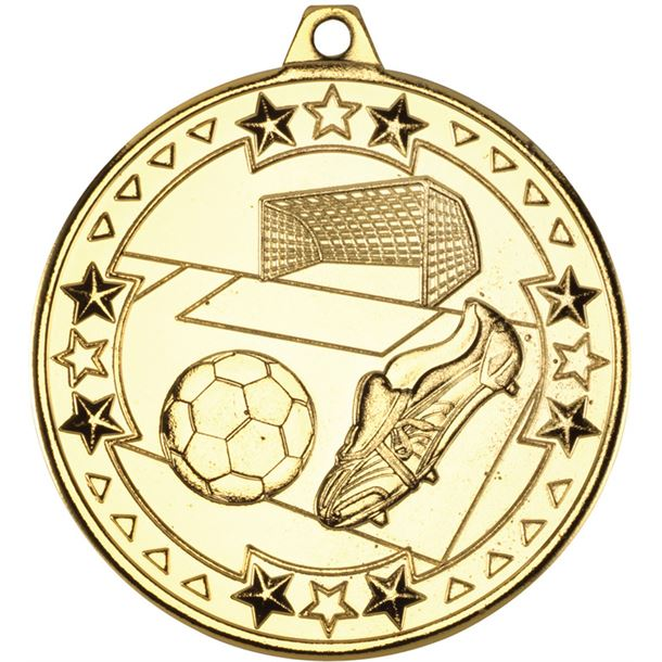 "Gold Tri Star Football Medal 50mm (2"")"
