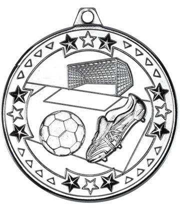 "Silver Tri Star Football Medal 50mm (2"")"