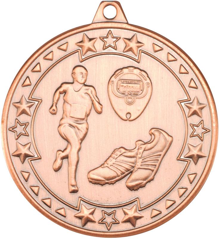 "Bronze Tri Star Running Medal 50mm (2"")"