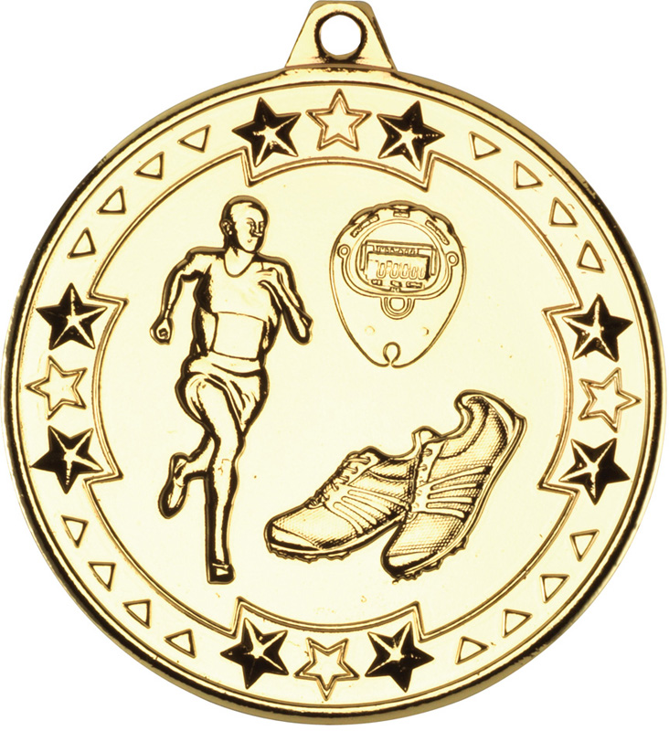 "Gold Tri Star Running Medal 50mm (2"")"