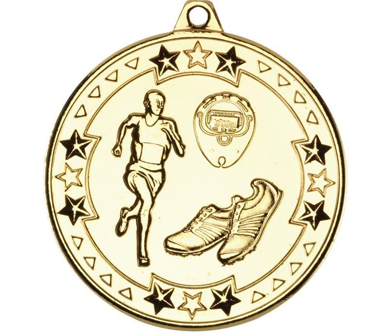 """Gold Tri Star Running Medal 50mm (2"""")"""