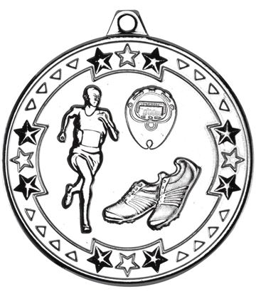 "Silver Tri Star Running Medal 50mm (2"")"
