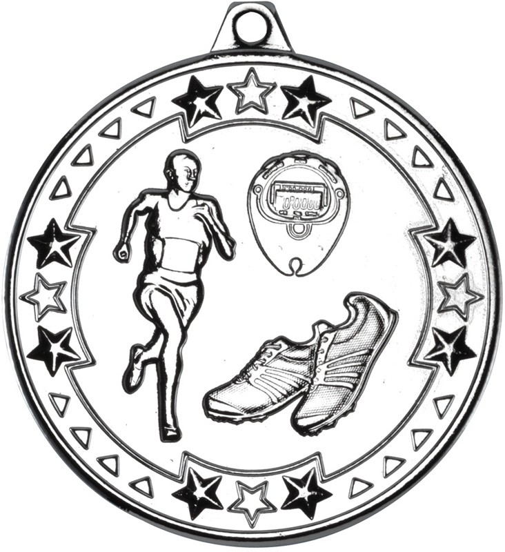 """Silver Tri Star Running Medal 50mm (2"""")"""