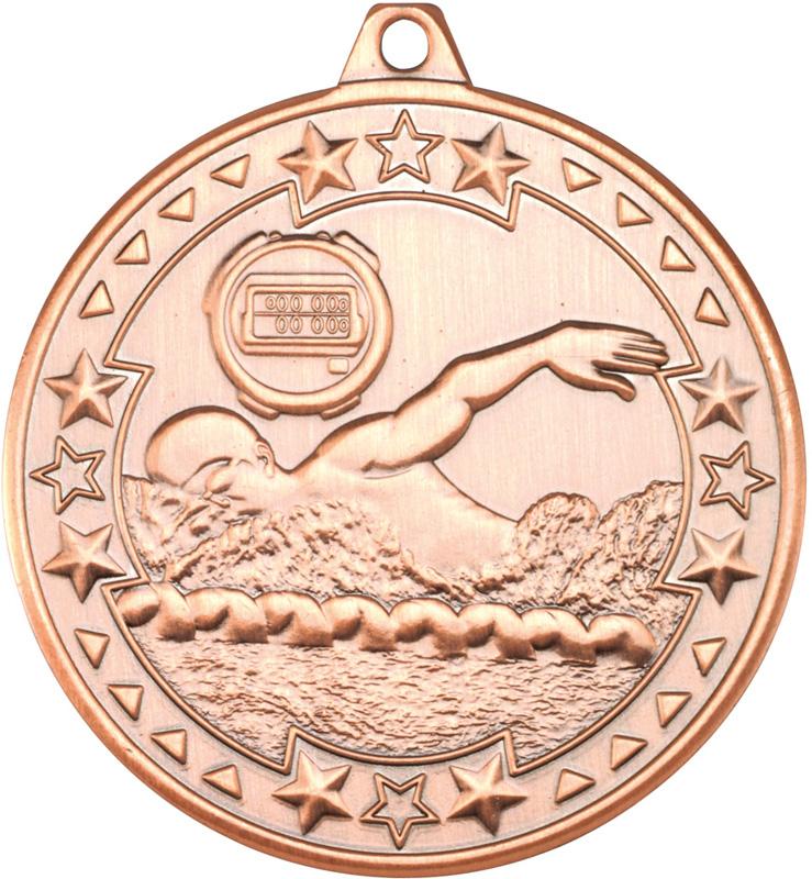 "Bronze Tri Star Swimming Medal 50mm (2"")"