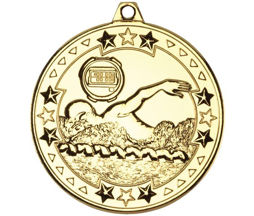 "Gold Tri Star Swimming Medal 50mm (2"")"