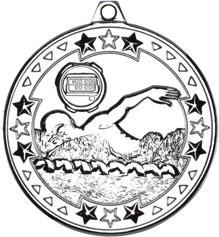 "Silver Tri Star Swimming Medal 50mm (2"")"