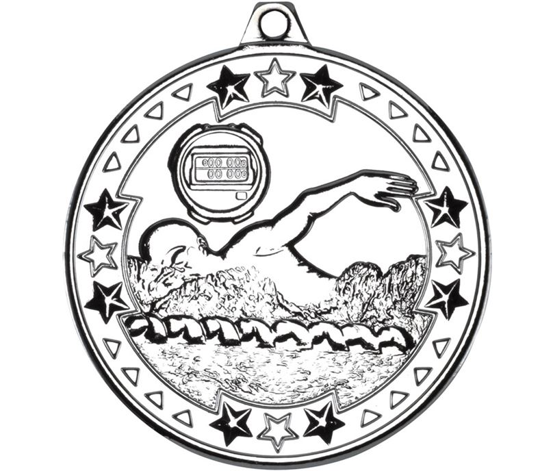 "Silver Tri Star Swimming Medal 50mm (2"")"