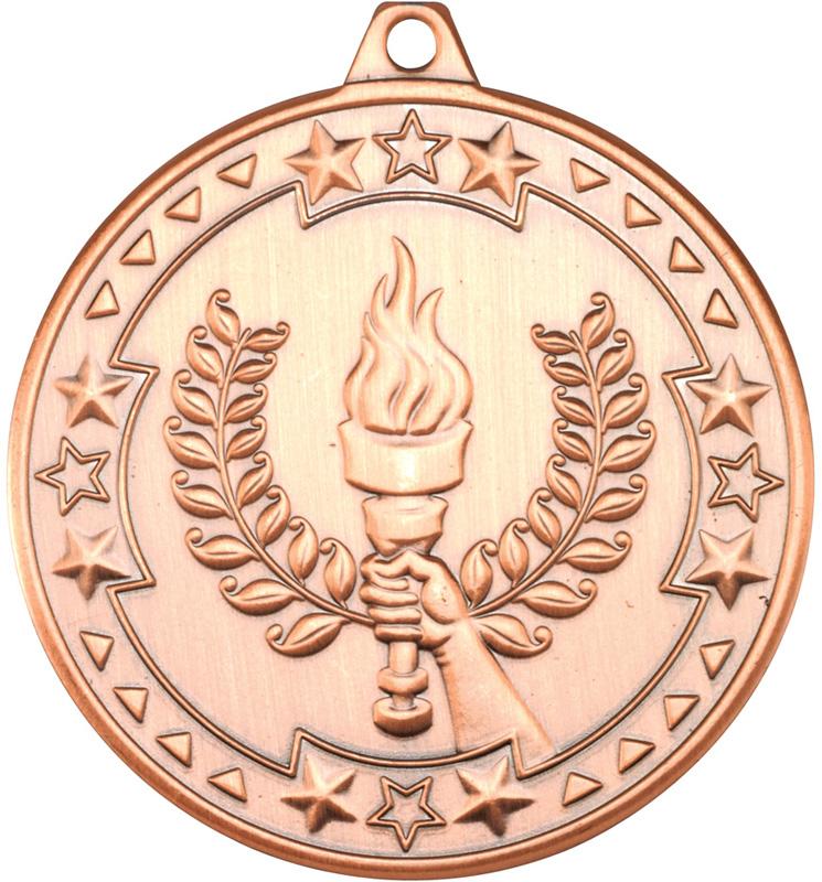 "Bronze Tri Star Victory Torch Medal 50mm (2"")"