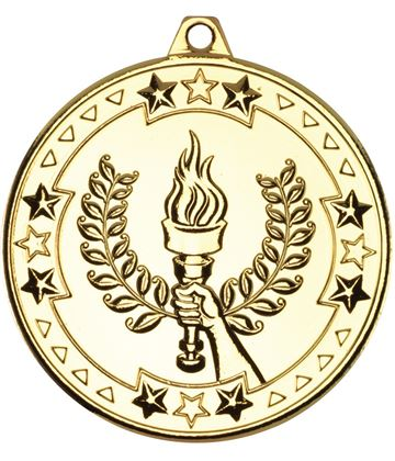 """Gold Tri Star Victory Torch Medal 50mm (2"""")"""