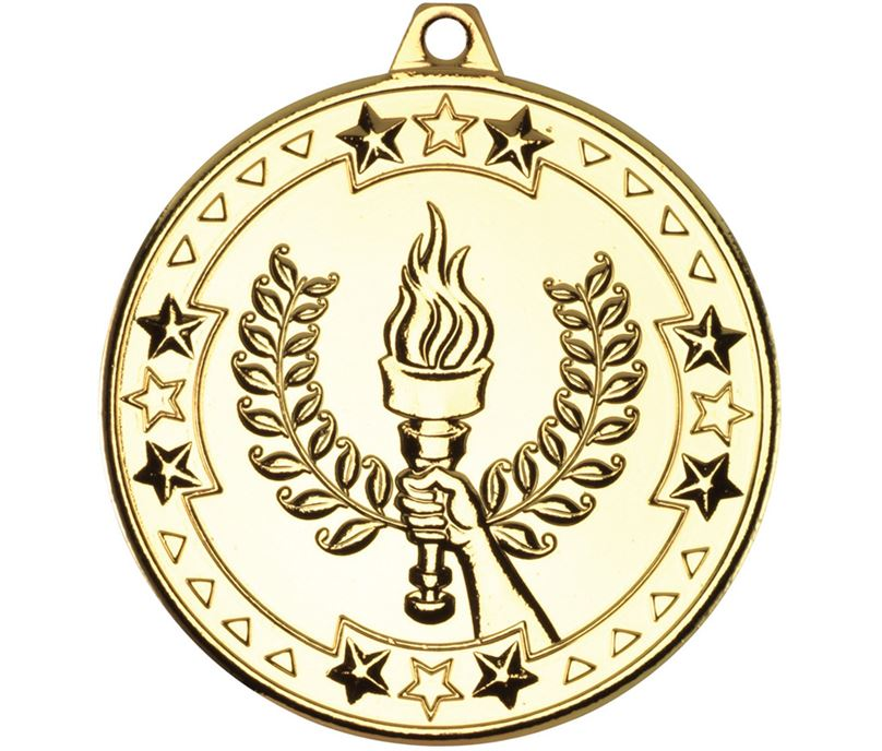 "Gold Tri Star Victory Torch Medal 50mm (2"")"